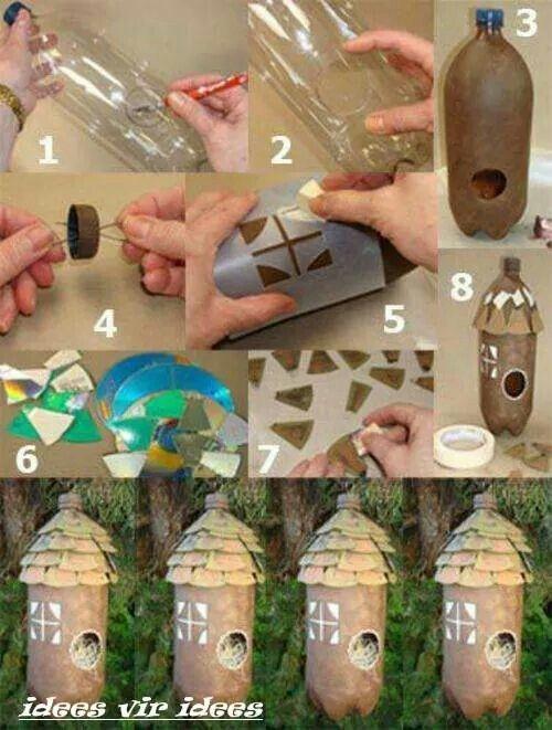 Maison oiseaux en bouteille plastique... ...