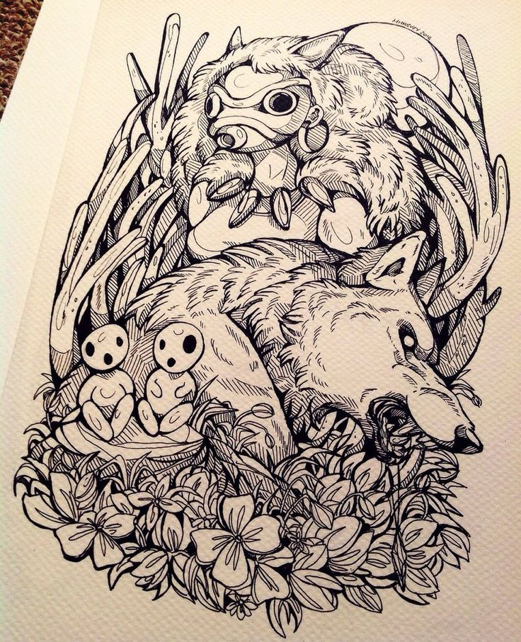 """Edit: ORIGINAL now on sale herewww.etsy.com/shop/wolfskulljac… """"Cut off a wolf's head and it still has the power to bite"""" fan art for one of my favourite films Princess Mononoke. &nbsp..."""