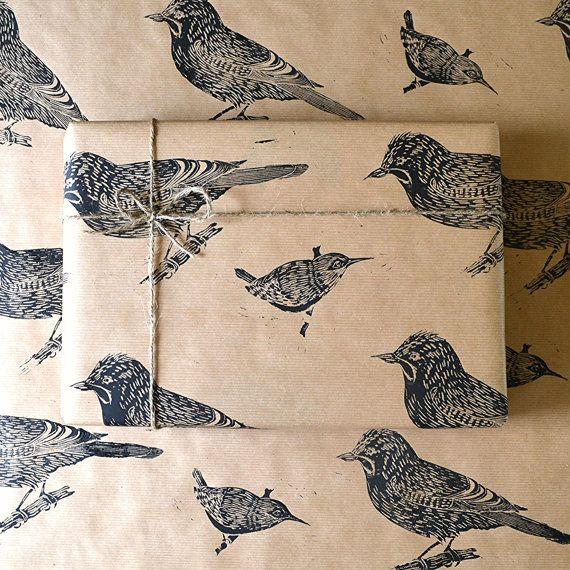 Jay and Wren Bird Lino Printed Gift Wrap by HandmadeandHeritage