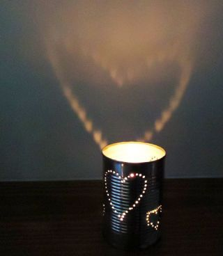 Flickering candlelight is even more romantic when it projects a heart-shaped design on the wall. Pierce the pattern on a recycled tin can to make a sweet tea light candle holder. Get the tutorial from Charlotte Hupfield Ceramics