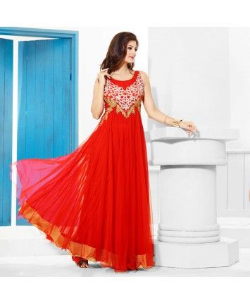Stitched Red Color Net Designer Gown  #ohnineone