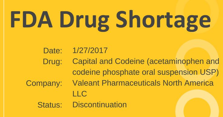 Valeant Pharmaceuticals North America has discontinued manufacturing of Capital and Codeine (16 oz. bottles).