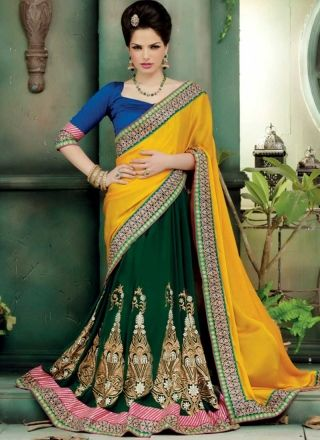 Blooming Yellow And Green Georgette Embroidery Work Lehenga Saree  http://www.angelnx.com/Sarees/Lehenga-Sarees#/sort=p.date_added/order=DESC/limit=32/page=3