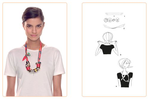 """This """"Twilly Necklace"""" knot can be used for a Twilly. Play with your Hermès scarf with the Silk Knots app! #Hermes #Silk #SilkKnots"""