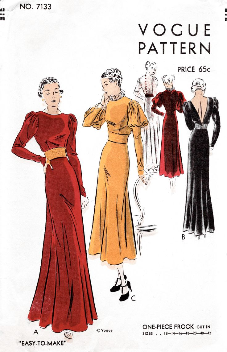 Vogue 7133 1930s Renaissance inspired evening gown vintage sewing pattern reproduction