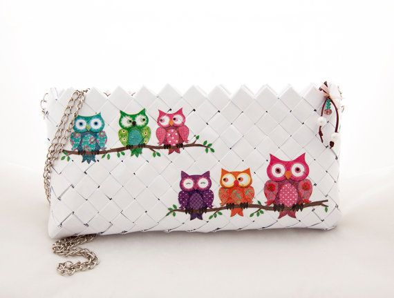 Handmade paper bag with owls decoupage design