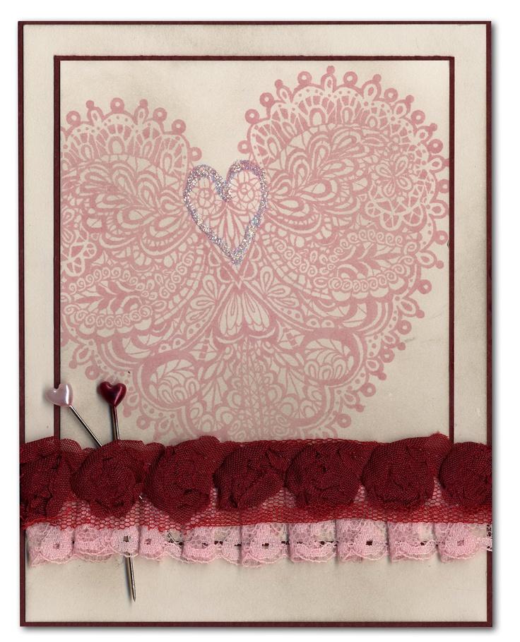 Valentine Card 51 Vintage Lace Heart Rose Ribbon