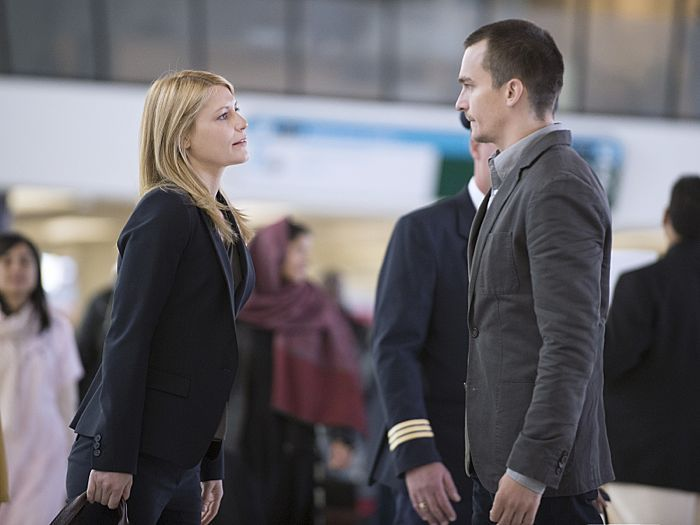 Homeland Episode 401 Claire Danes as Carrie Mathison and Rupert Friend as Peter Quinn in Homeland