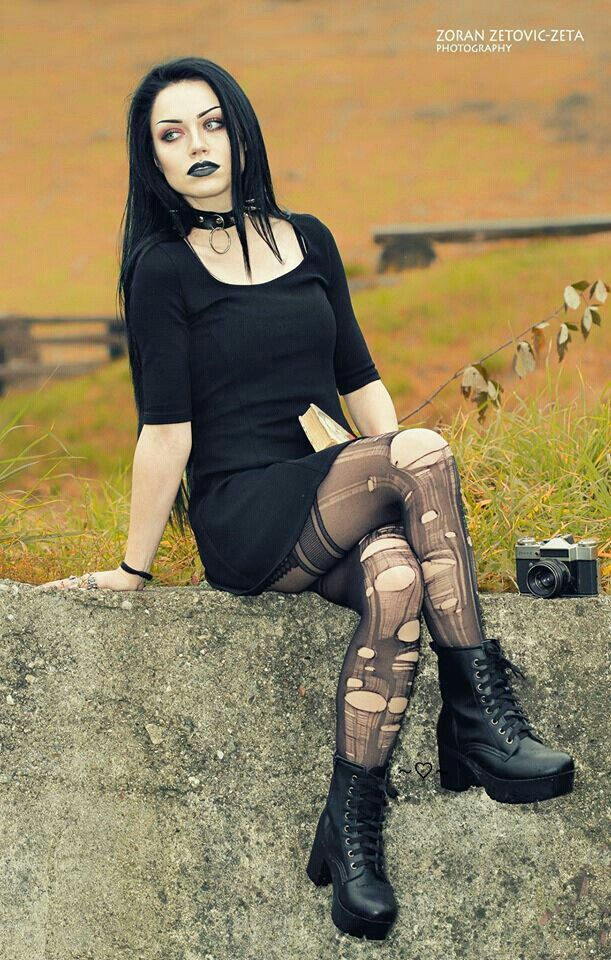 amazing hair colour and Goth boots!