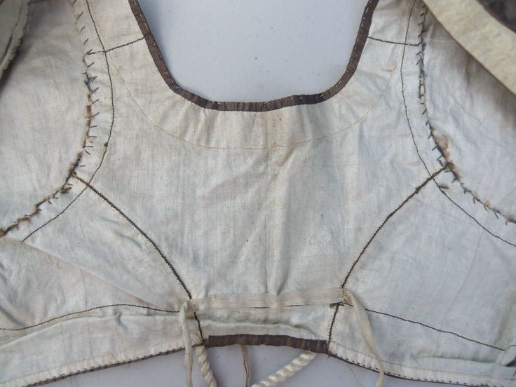 ball gown bodice c. 1800 made of brown silk taffeta. Trimmed with fine ivory colored silk ribbon at the sleeves and neckline. Lined with off-white cotton. The back is very narrow and the front crosses over and is secured. There would have been a separate decorative front which would have covered the lining | eBay