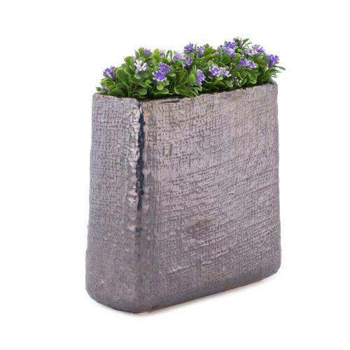 Decoratiuni - Vaza ceramica dreptunghiulara, PTMD, gri sidefat la numai 15.00 RON