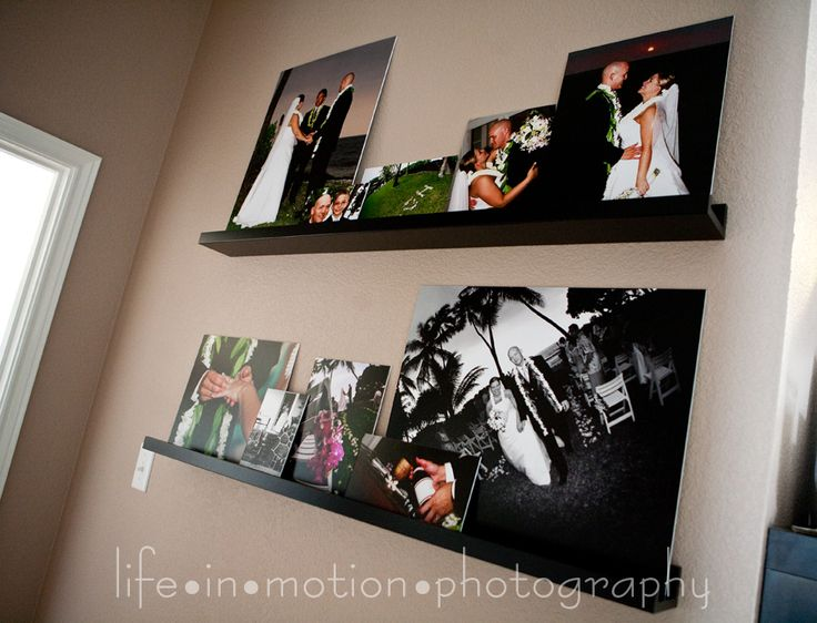 Wedding Wall Display On Floating Shelves Like The Different Sizes