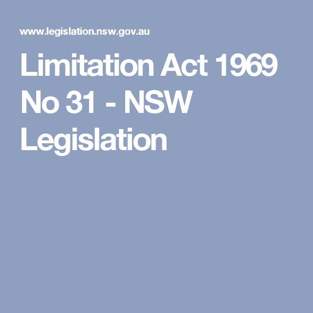 Limitation Act 1969 No 31 - NSW Legislation