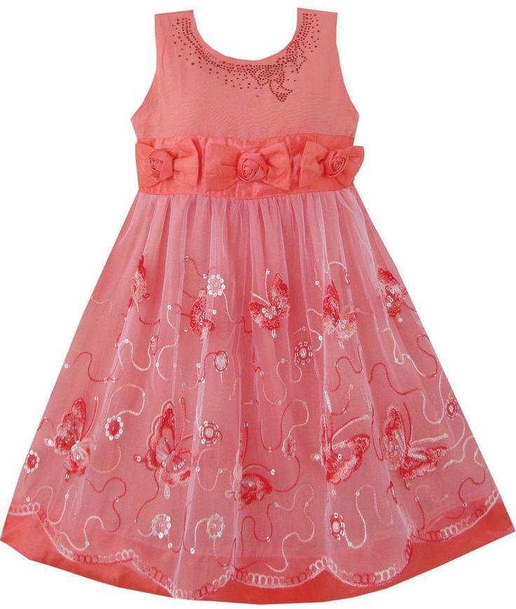 Girls Dress Shinning Butterfly Watermelon Pageant Wedding Size 3-6 Years