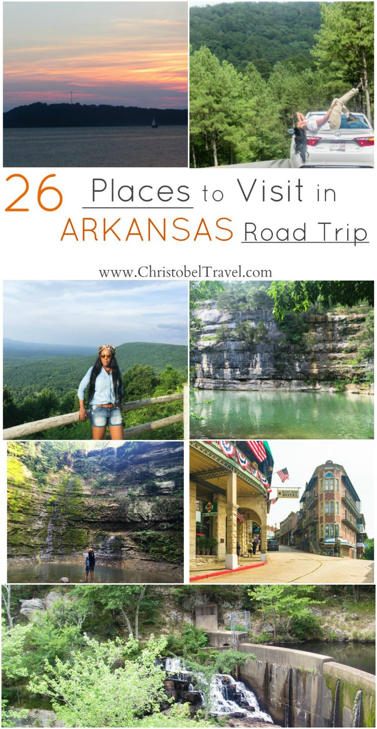 Road Trip: 26 Places to Visit in Arkansas - Christobel Travel - Attractions include lakes, caves, Ozark and Ouachita forests, Ozark Mountains, waterfalls, national and state parks and places such as Eureka Springs, Hot Springs, Jasper and Little Rock. Things to do or outdoor adventures include hiking, camping, kayaking, zip lining and nature photography. Bucket list - You can travel in summer, fall and winter. Depending on the weather hikes and even vacation with kids are possible.