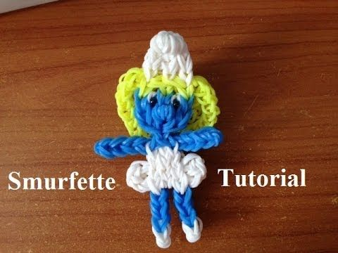 SMURFETTE (The Smurfs). Designed and loomed by Marlene Barressii of MarloomZ Creations on the Rainbow Loom. Click on photo for YouTube tutorial.
