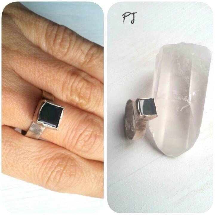Quadro, silver ring, green agathe, spiritual, boho jewelry, healing stones, by PadmaJewels