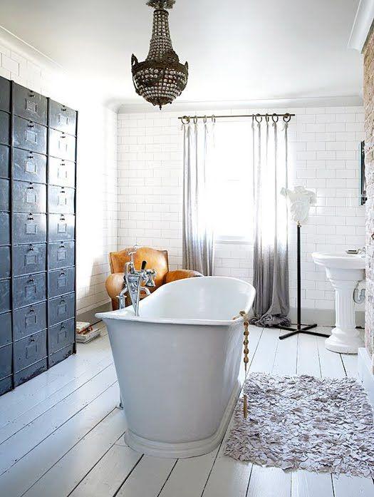 Hot tubFloors, Wall Storage, Rustic Bathroom, Bathtubs, Bathroom Storage, Subway Tile, File Cabinets, White Bathroom, Shabby Chic Bathroom