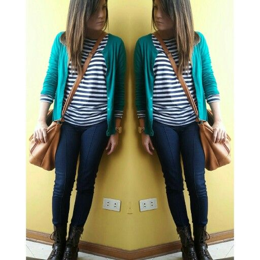 Greens&Blues. Green cardigan,  striped shirt , blue jeans, short boots, green and blue, outdoors outfit