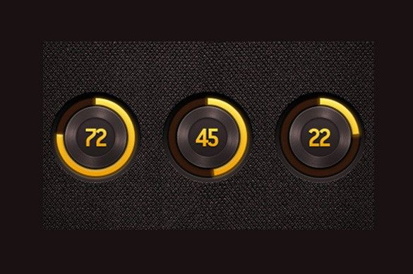 XOOplate :: 3 Rich Radial Progress Bars Set PSD - 3 Dark yellow and brown metal-look progress bars with loaded percentage in center - PSD set.