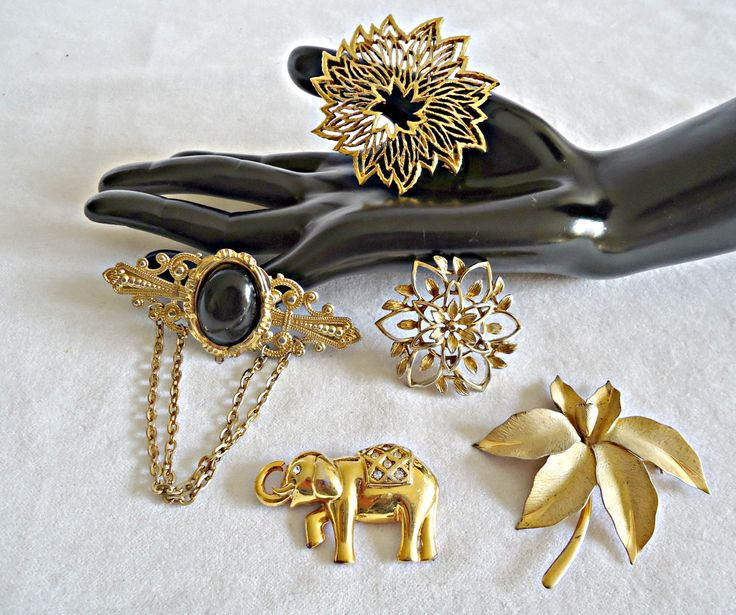 5 Vintage Brooch Pins Brooches Brooch Sarah Coventry Monet Elephant Gold tone  Lot B by TreasureCoveAlly on Etsy
