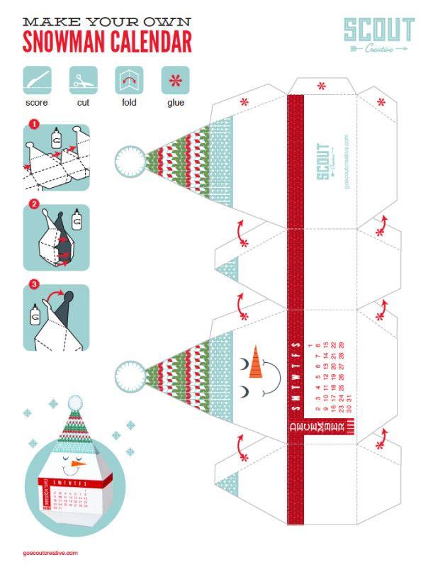 FREE printable December 2012 calendar paper toy