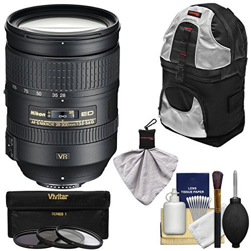 Nikon 28-300mm f/3.5-5.6 G VR AF-S ED Zoom-Nikkor Lens + 3 Filters + Sling Backpack Kit for D3200, D3300, D5300, D5500, D7100, D7200, D750, D810 Camera