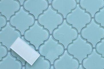 Seafoam Arabesque Glass Mosaic Tiles, Sample mediterranean-mosaic-tile