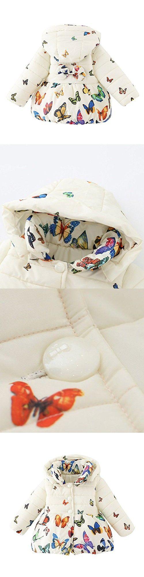 Jlong Baby Girls Winter Warm Soft Cotton Butterfly Long Sleeves Coat Jacket