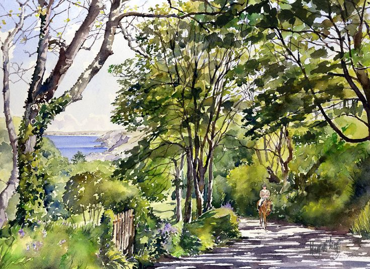 Another springtime image of Cornwall. This lane, with its banks filled with bluebells, leads down to the Trevaunance Cove and the village of St. Agnes on the north coast. The medium is watercolour ...