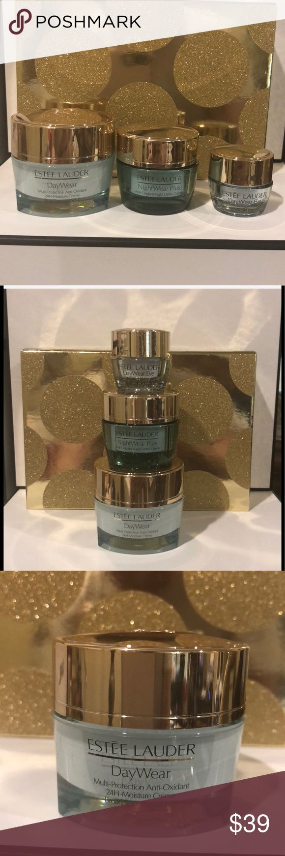 Estée Lauder DayWear Set This Awesome set includes: Full-size DayWear for Face 1FL OZ (30ml) NightWear for Face .5FL OZ (15ml) Daywear for Eye .17 FL OZ (5ml) All NEW & UNUSED. Thank you for shopping my closet I always give free gifts. Estee Lauder Makeup