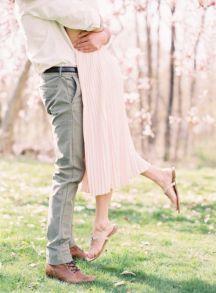 Sweet engagement session amongst magnolia trees.