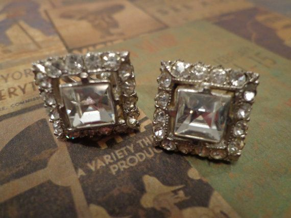 Vintage Rhinestone Earrings Silver Tone by PipersEmporium on Etsy, $15.00