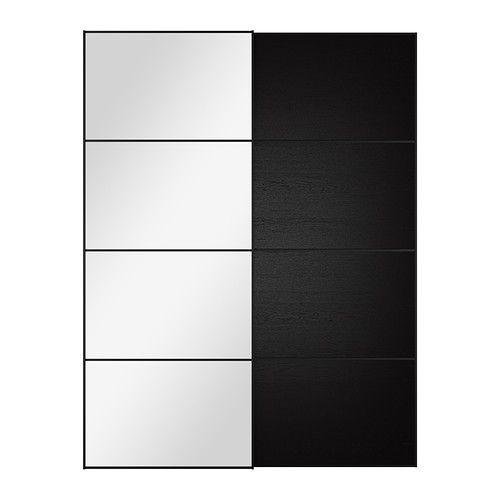 IKEA - AULI / ILSENG, Skyvedører par, 150x201 cm, dørdemper som gir myk lukking, , 10 års garanti. Les om vilkårene i garantiheftet.Med skyvedører har du plass til flere møbler, fordi de ikke tar opp ekstra plass når de åpnes.Kommer med sikkerhetsfilm - minsker risikoen for skader om glasset knuses.Lukkemekanismen fanger dørene, slik at de lukkes sakte og stille.