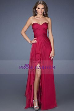2014 Prom Dresses with Slit A-line Sweetheart Floor-length Burgundy Chiffon
