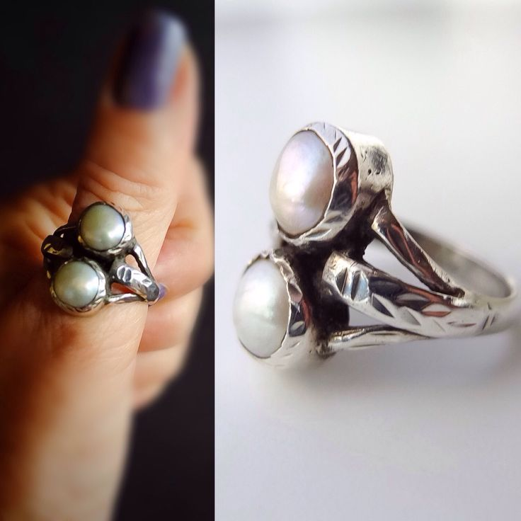 Edwardian Ring, Twin Pearls Ring, Natural Pearls, High Grade Silver, Engagement Ring, Promise Ring, Unisex Ring, Bohemian Fashion by PierreCachee on Etsy https://www.etsy.com/listing/460202410/edwardian-ring-twin-pearls-ring-natural