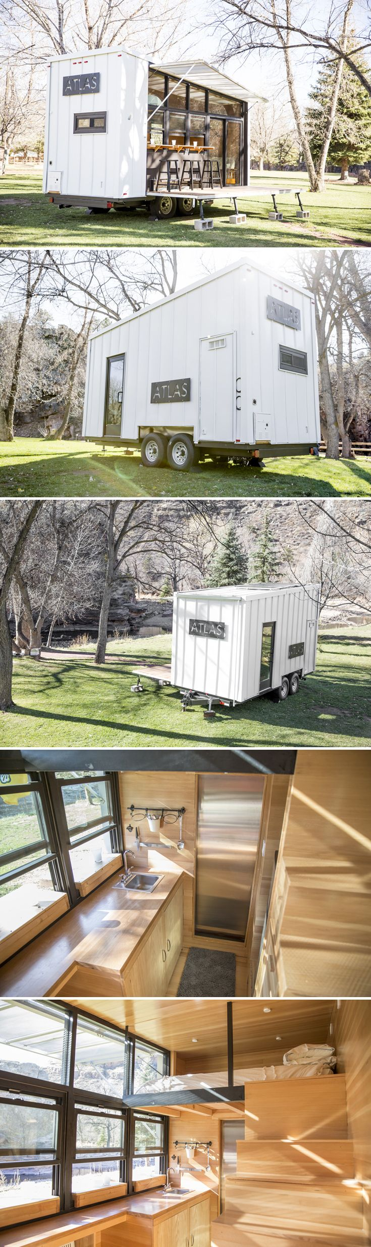 With its full window wall and huge fold down deck, the Atlas Tiny House helps people connect with nature. Available for rent at WeeCasa in Lyons, CO.