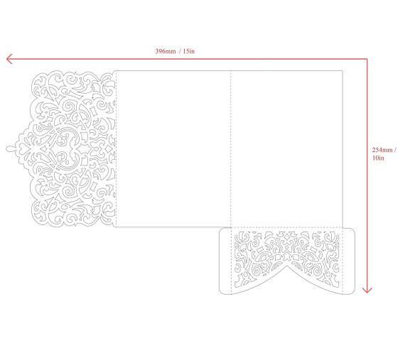 Tri-Fold Ornamental 5x7 Wedding Invitation Pocket Envelope SVG