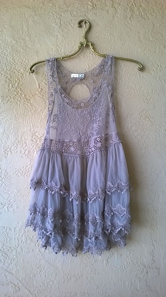 Gypsy Love ruffle mocha lace and crochet racerbak tunic