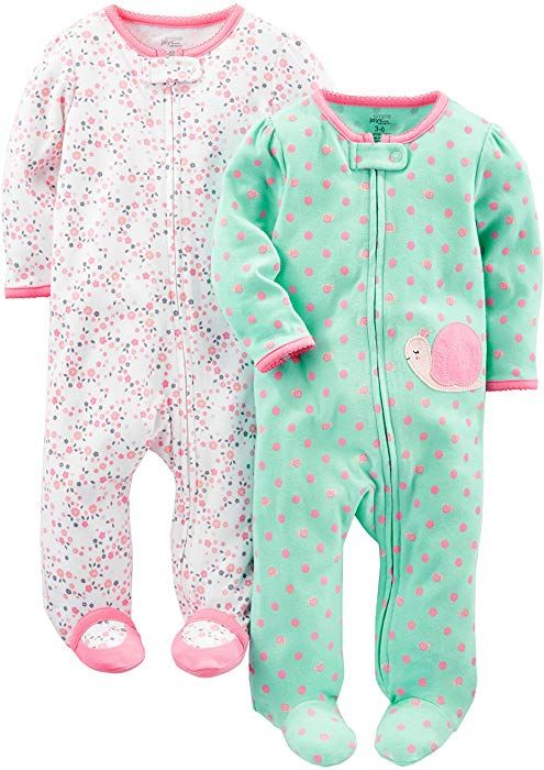 Amazon.com  Simple Joys by Carter s Baby Girls  2-Pack Cotton Footed Sleep  and Play fc598b9e6