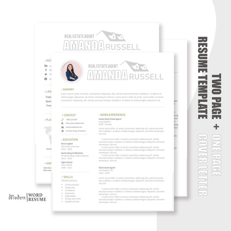 real estate agent resume template    cv template   cover letter
