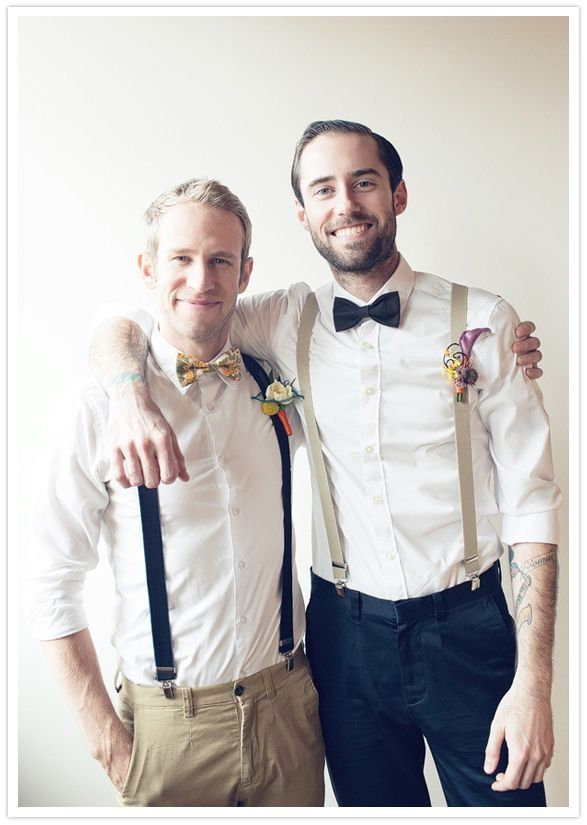 Groomsmen: Black Pants | White Buttoned Up Shirt | Each guy has a different accessory(tie, bow tie, suspenders, vest)