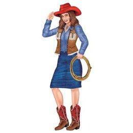 Decoratie Cowgirl Suzzy -  Een grote decoratie van een cowgirl om op te hangen tijdens een country en western feest. Lengte: 90cm. | www.feestartikelen.nl