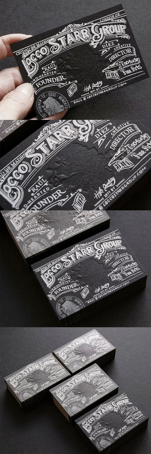 Intricate Black And White Letterpress Business Card Design