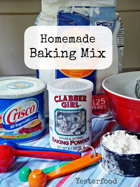 Yesterfood : Homemade Baking Mix (Bisquick)...change your all purpose flour to a lower carb flour...