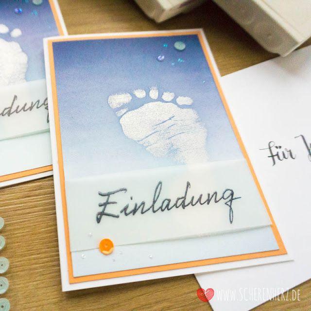 einladung zur taufe - karten mit baby fußabdruck in 2020