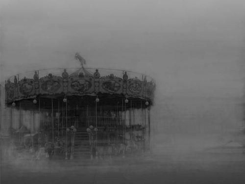 Dream-like Carousel in Black and White.  Disembodied from the real world