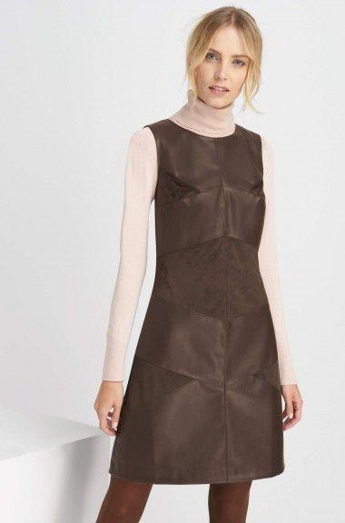 Rochie scurtă bimaterial cu piele ecologică