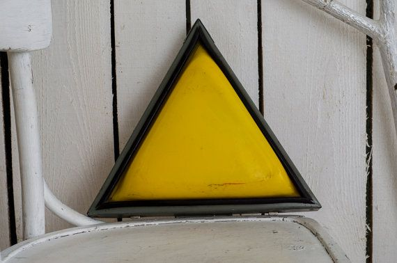 Wall industrial decor yellow triangle sign industrial home decor triangle road sign soviet vintage sign Gravity Falls Bill Cipher track sign   This is vintage soviet road sign - yellow triangle. It doesnt work, but the cosmetic condition is very good. It would be a great wall or stand decor for industrial home decor. The lamp doesnt work.  Measurements: Each side is 11,8 (30 cm) long   You can also find another industrial home decor in our shop here: https://www.etsy.com/shop&#...