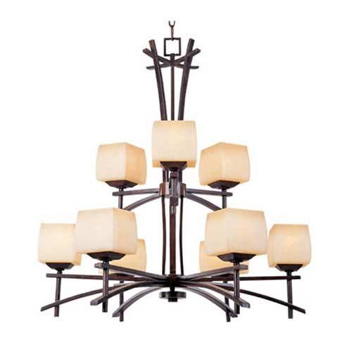Asian Inspired Nine Light Chandelier